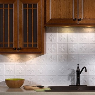 Fasade Fleur de Lis Backsplash in Gloss White 18 sq. ft. Kit
