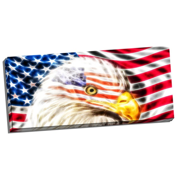 Design Art 'Land of the Free Eagle' 40 x 20 Canvas Art Print