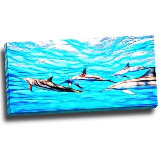 Design Art 'Family of Dolphins' Ocean Art on Canvas 40 x 20 Canvas Art Print