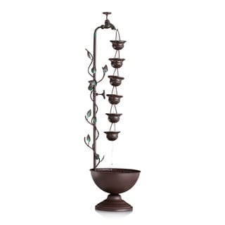 36-inch 6 Hanging Cup Tier Layered Floor Fountain