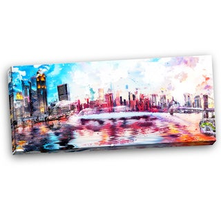Design Art 'Colorful NYC' Cityscape Large Americana 40 x 20 Canvas Art Print