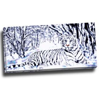 Design Art 'White Tiger White Forest' 40 x 20 Canvas Art Print