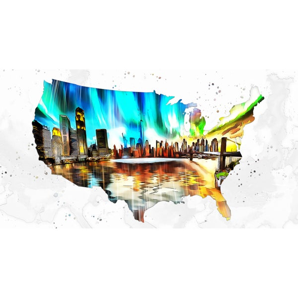 Design Art 'City Life on the Map' 40 x 20 Canvas Art Print