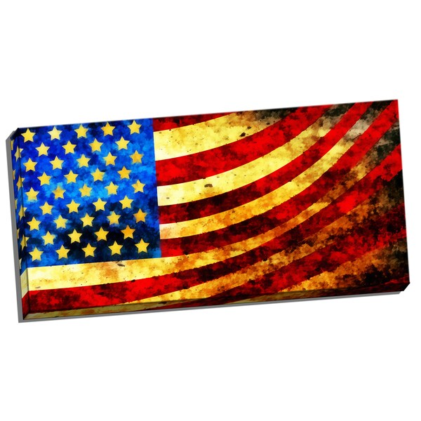 Design Art 'God Bless America Flag' 40 x 20 Canvas Art Print