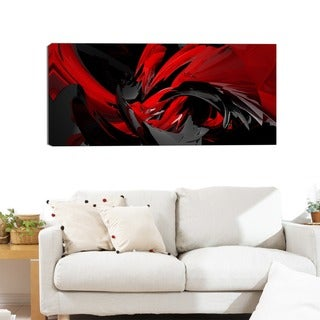 Design Art 'Red and Grey Mixer' Contemporary 40 x 20 Canvas Art Print