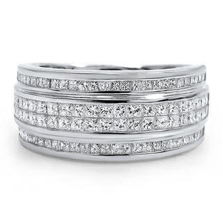 Noori 14k White Gold Men's 2ct TDW Princess-cut Certified Diamond Wedding Band (G-H, SI1-SI2)