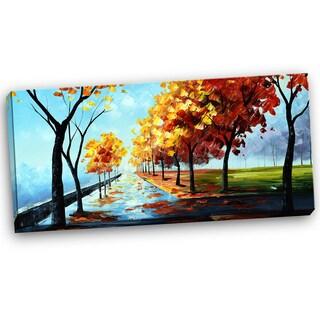 Design Art 'A Path In The Fall' Landscape 40 x 20 Canvas Art Print