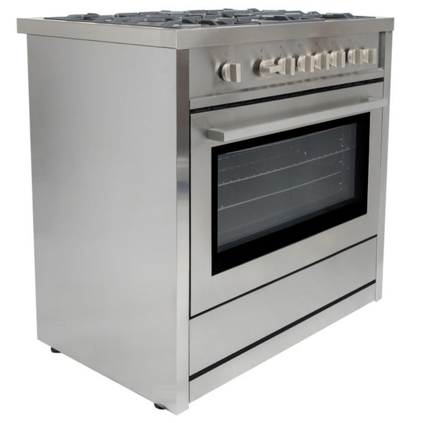 Cosmo COS-965AG 36-inch Gas Range with 5 Italian Made Burners, Broiler, and Motorized Rotisserie 15709569