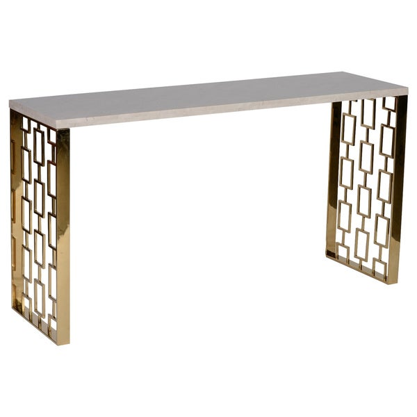 Skyline White Top Gold Base Console Table