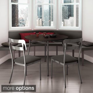 Amisco Cora Metal Chairs and Alys Table Dining Set, Charcoal Upholstery