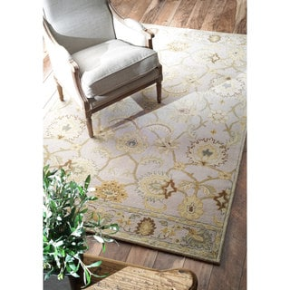 nuLOOM Transitional Floral Light Grey Wool Rug (8'6 x 11'6)