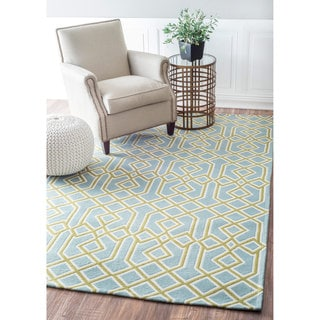 nuLOOM Contemporary Geometric Green Rug (8' x 10')