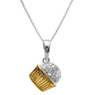 10k Two-tone Gold 1/10ct TDW Round Diamond Cupcake Necklace (I-J ,I2-I3)