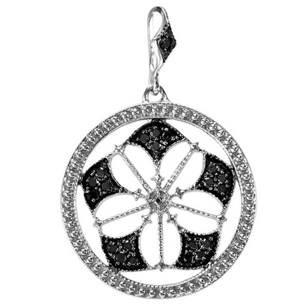Sterling Silver 1/6ct TDW Black Diamond Antique Circle Necklace