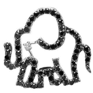 Sterling Silver 1/2ct TDW Black and White Diamond Elephant Necklace (I-J, I2-I3)