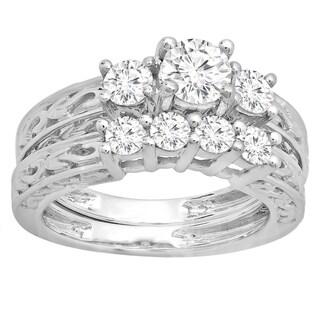 14k White Gold 1 1/2ct TDW Round Diamond Vintage 3-stone Bridal Ring Set (I-J ,I1-I2)