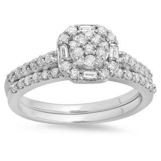 14k White Gold 3/4ct TDW Round and Baguette Diamond Cluster Bridal Ring Set (H-I ,I1-I2)