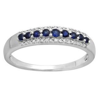 10k White Gold 1/6ct TDW Round Diamond and Blue Sapphire Anniversary Stackable Band (I-J, I1-I2)