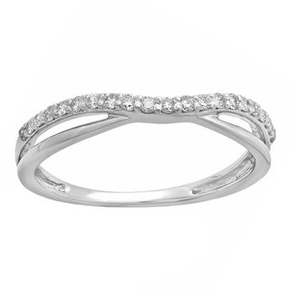 14k White Gold 1/4ct TDW Round-cut Diamond Anniversary Guard Contour Band (H-I, I1-I2)
