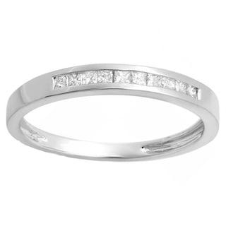 14k White Gold 1/5ct TDW Princess-cut Diamond Stackable Anniversary Band (H-I, I1-I2)