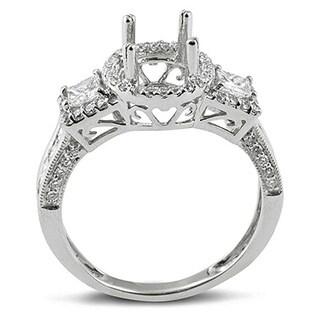 14k White Gold 1 1/5ct TDW Round and Princess Diamond Bridal Semi-mount Ring (H-I, I1-I2)