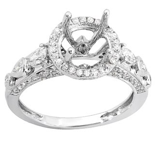 18k White Gold 1ct TDW Round and Pear Diamond Semi-mount Engagement Ring (H-I, I1-I2)