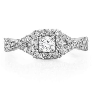 14k White Gold 3/4ct TDW Diamond Swirl Split Shank Halo Engagement Ring (H-I, I1-I2)
