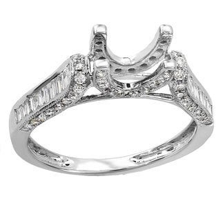 14k White Gold 1ct TDW Round and Baguette Diamond Semi-mount Ring (H-I ,I1-I2)