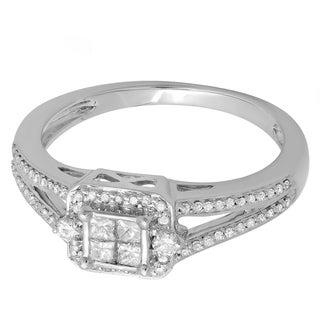 14k White Gold 1/2ct TDW Princess and Round-cut Diamond Split Shank Engagement Ring (H-I ,I1-I2)