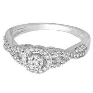 14k White Gold 1/2ct TDW Round Diamond Swirl Split Shank Halo Engagement Ring (H-I, I1-I2)
