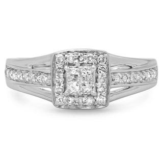 14k White Gold 1/2ct TDW Princess and Round-cut Diamond Split Shank Engagement Ring (H-I, I1-I2)