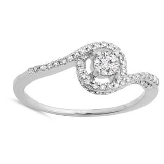 14k White Gold 1/2ct TDW Round-cut Diamond Twisted Swirl Halo Engagement Ring (H-I, I1-I2)