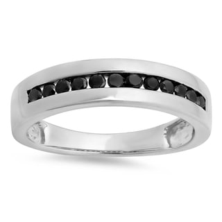 Sterling Silver Men's 1/2ct TDW Real Black Channel-set Diamond Anniversary Band