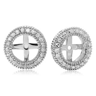 14k White Gold 1/2ct TDW Round-cut Diamond Millgrain Removable Earring Jackets (H-I, I1-I2)
