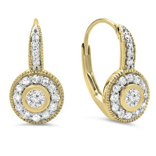 14k Yellow Gold 1/2ct TDW Round-cut Diamond Cluster Halo Millgrain Drop Earrings (H-I, I1-I2)