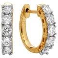 14k Yellow Gold 1/2ct TDW Round-cut Diamond Hoop Earrings (H-I ,I1-I2)