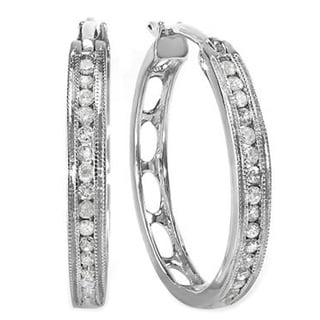 Sterling Silver 1/3ct TDW Round-cut Diamond Hoop Earrings (I-J, I2-I3)