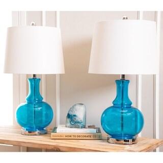ABBYSON LIVING Ellis Turquoise Glass Table Lamp (Set of 2)
