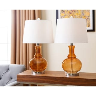 ABBYSON LIVING Ellis Orange Glass Table Lamp (Set of 2)
