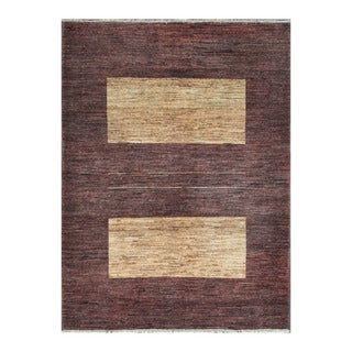 Herat Oriental Afghan Hand-knotted Tribal Vegetable Dye Gabbeh Chocolate Brown/ Tan Wool Rug (4'11 x 6'5)