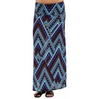 24/7 Comfort Apparel Women's Blue Triangular Mosaic Maxi Skirt