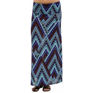 24/7 Comfort Apparel Women's Blue Triangular Mosaic Maxi Skirt