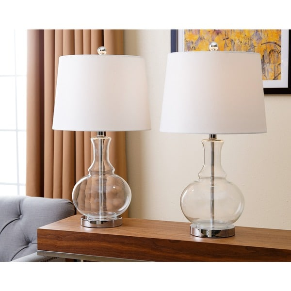 abbyson living ellis clear glass table lamp set of 2 17419143. Black Bedroom Furniture Sets. Home Design Ideas
