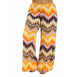 24/7 Comfort Apparel Women's Plus Size Orange and Brown Palazzo Pants