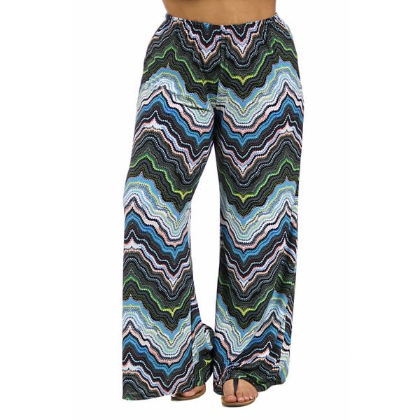24/7 Comfort Apparel Women's Plus Size Blue and Green Palazzo Pants