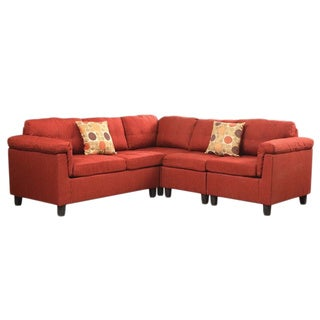 Kulu Reversible Sectional Sofa with Pillows Upholstered in Red