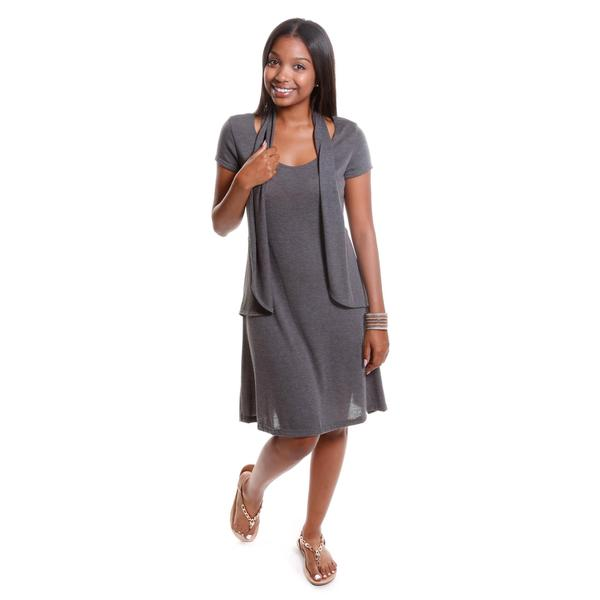 Hadari Women's Knit Dress with Vest Detail