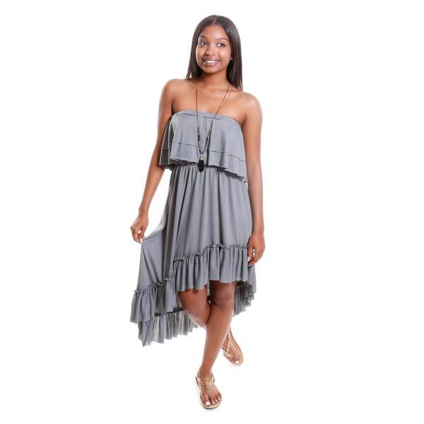 Hadari Women's Strapless Dress with Ruffles