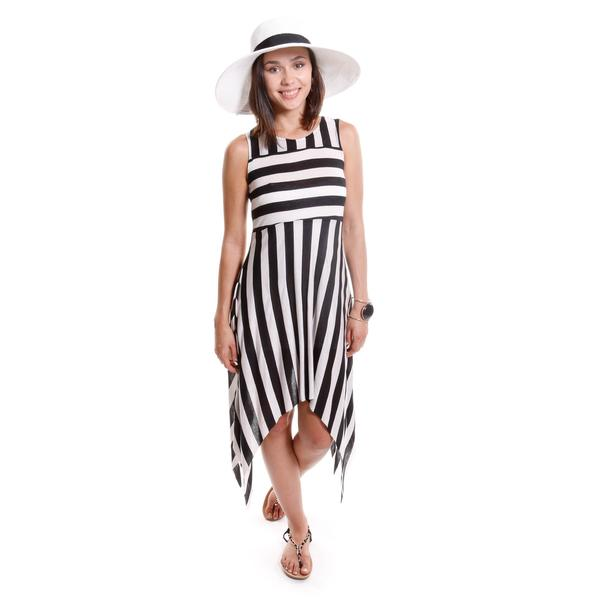 Hadari Women's Striped Dress with Asymmetrical Hem