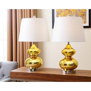 ABBYSON LIVING Sophia Gold Chrome Glass Table Lamp (Set of 2)